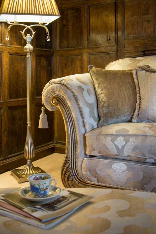 Golden Fabric, Carved Wooden Facing, Classic Back,