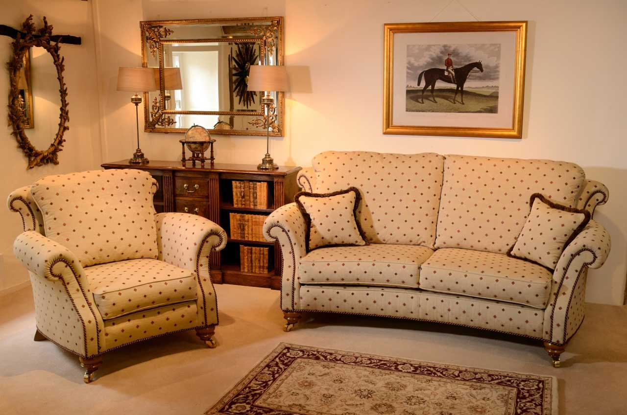 Curved Sofa And Chair, Rolled Arms And Back