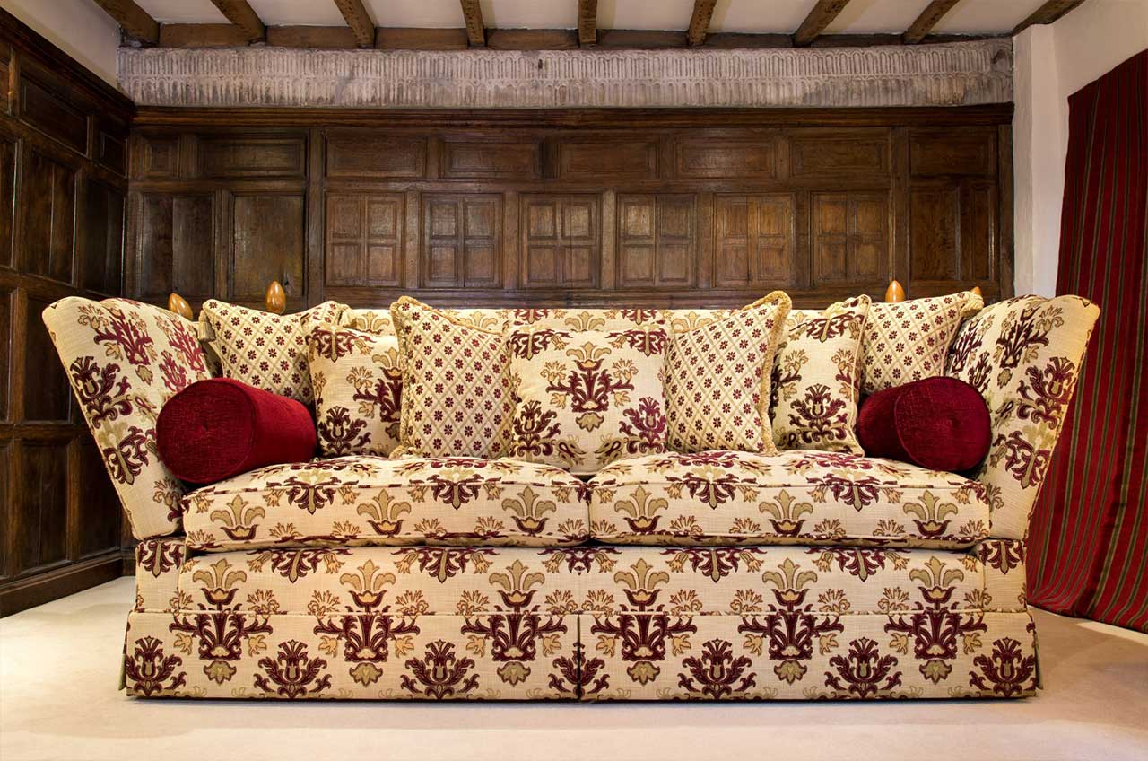High Arm Knowle Sofa, Scatter Back Design, Bolster Cushions, Valanced.
