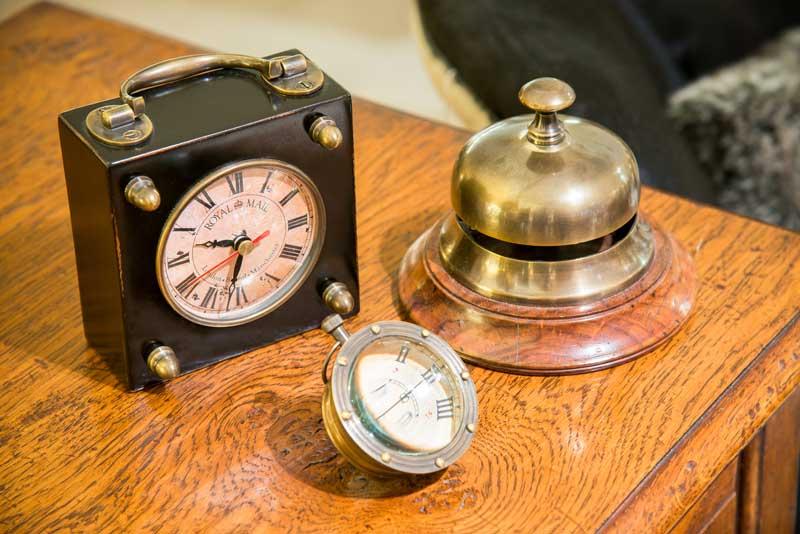 Brass, Desk, Bell, Table, Top, Clock