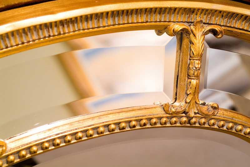 Circular Mirror, Gold Floral Pattern