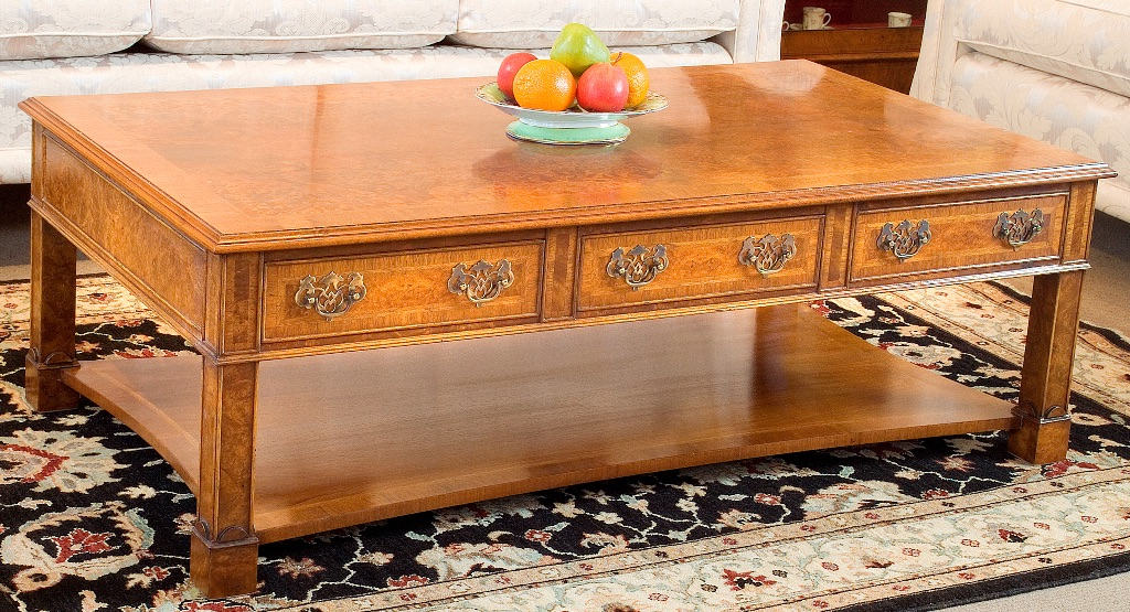 Rise and fall, walnut veneer coffee table, solid wood, pot board,