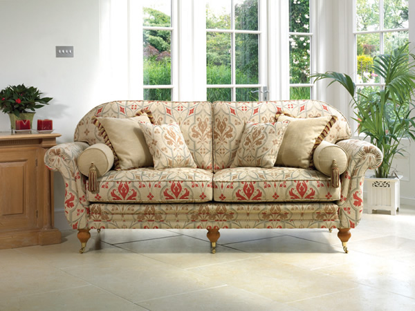 Traditional Sofa, Bolster Cushions, Curved Arms,