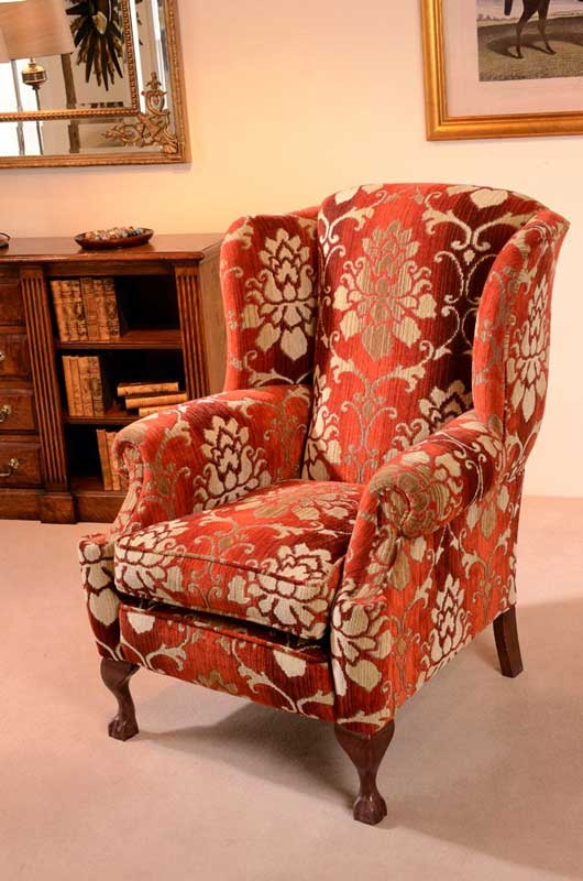 High Back Wing Chair, Rolled Arms, Wooden Queen Anne Feet.