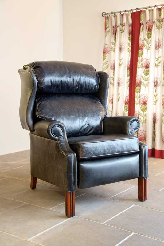 Black Leather Recliner, Deep Seat Cushioning,