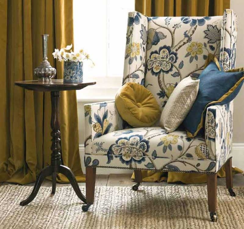Chair Re Upholstered In Rosyln Fabric By Sanderson
