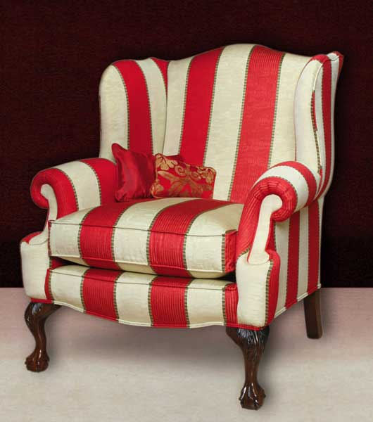 Rolled Arm Wing Chair, High Back, Queen Anne Feet.