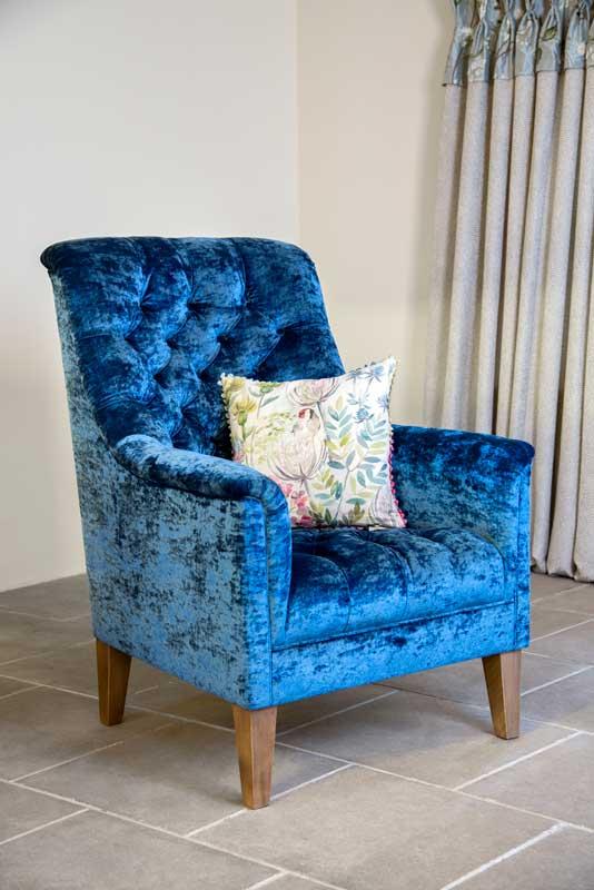 High Back Armchair, Button Back, Wooden Feet,