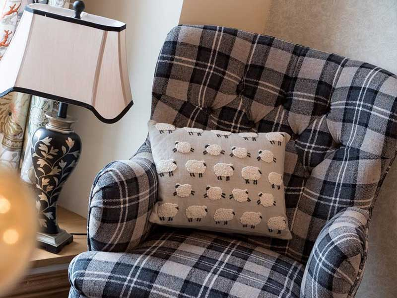 Curved Back Chair, Grey And Black Tartan Fabric.