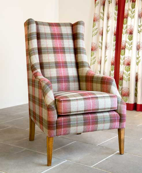 High Back Armchair, Tartan Fabric,