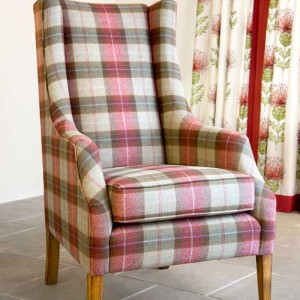 High Backed, Wing Chair, Red Tartan Fabric.