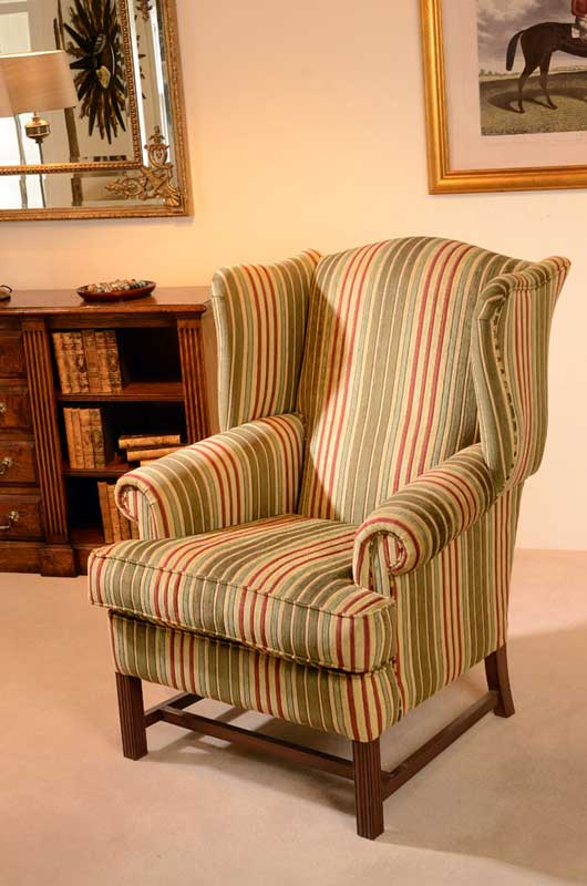 High Back Wing Chair, Wooden Feet, Rolled Arms