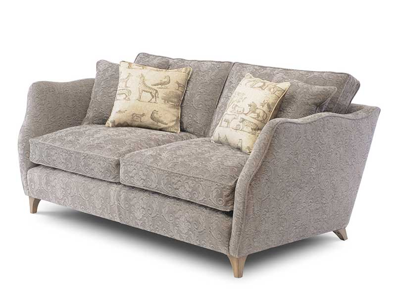 Grey fabric, feather cushions, shaped arms, wooden feet