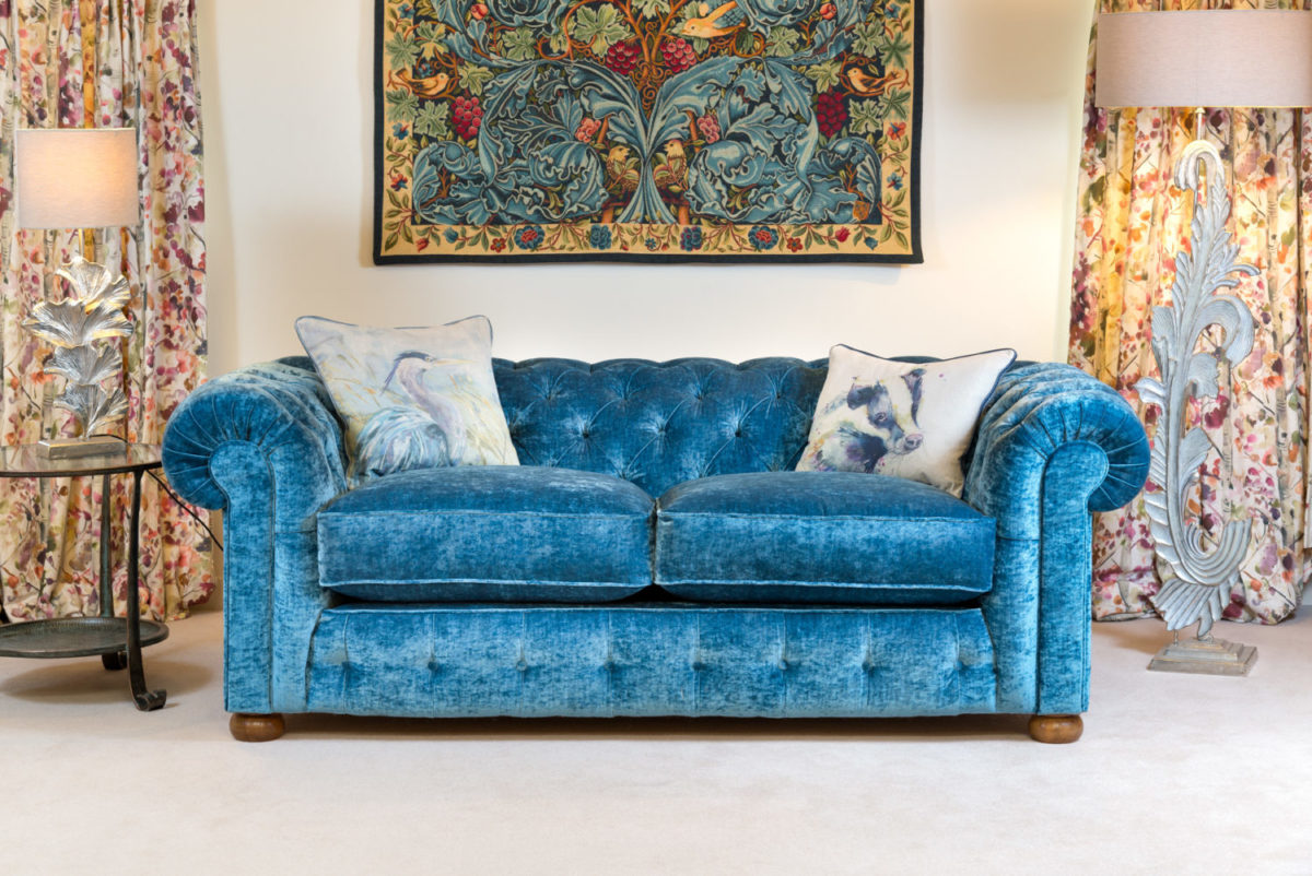 Saint George Blue Velvet Chesterfield Sofa