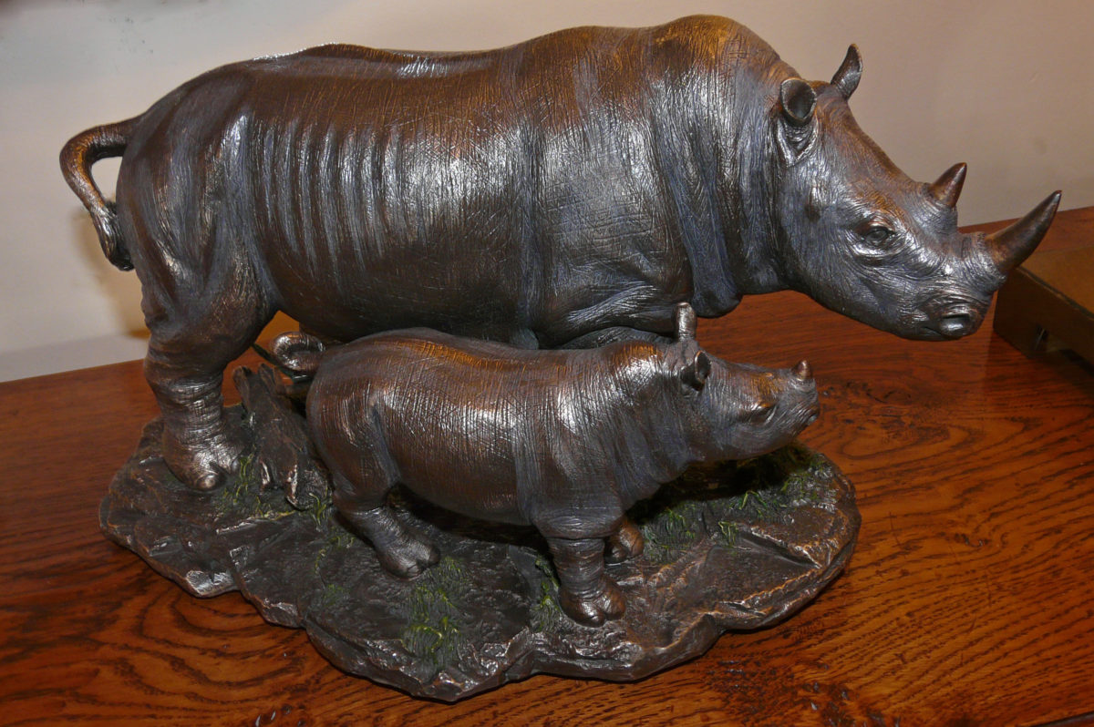 imitation, bronze, rhinos, ornaments, mother, baby,