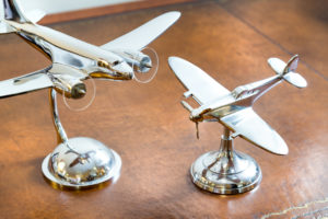 Two Silver Models Of Bomber And Spitfires.