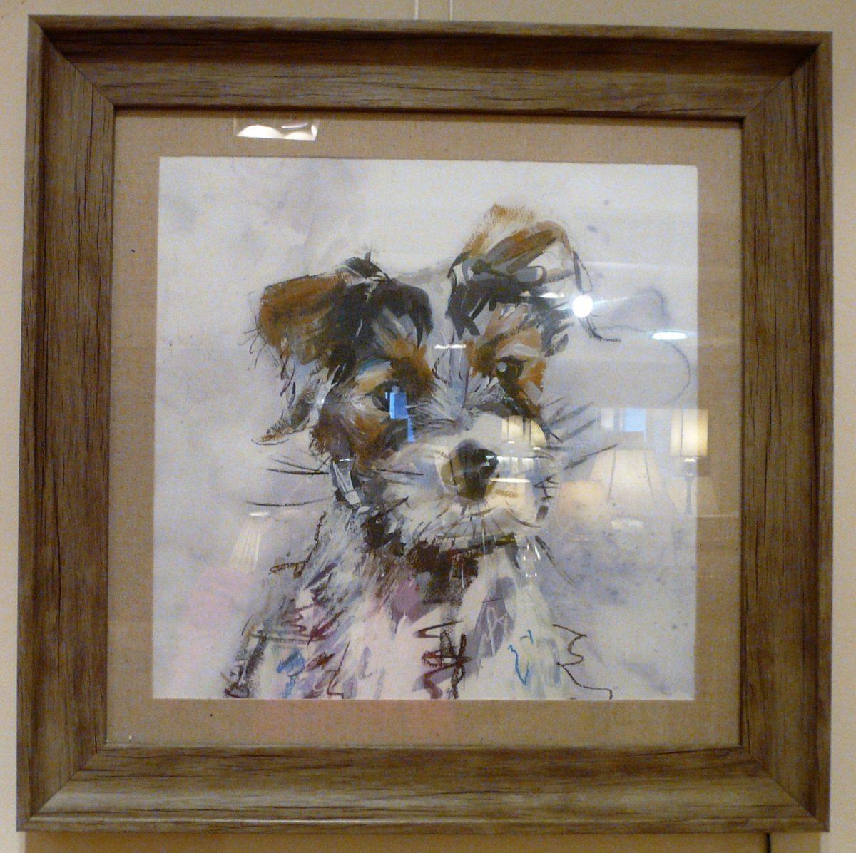 Terrier print, wooden frame.