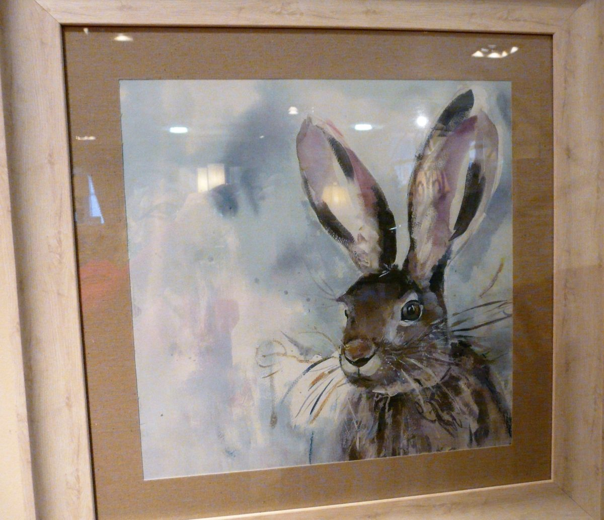 Hare print, wooden frame.