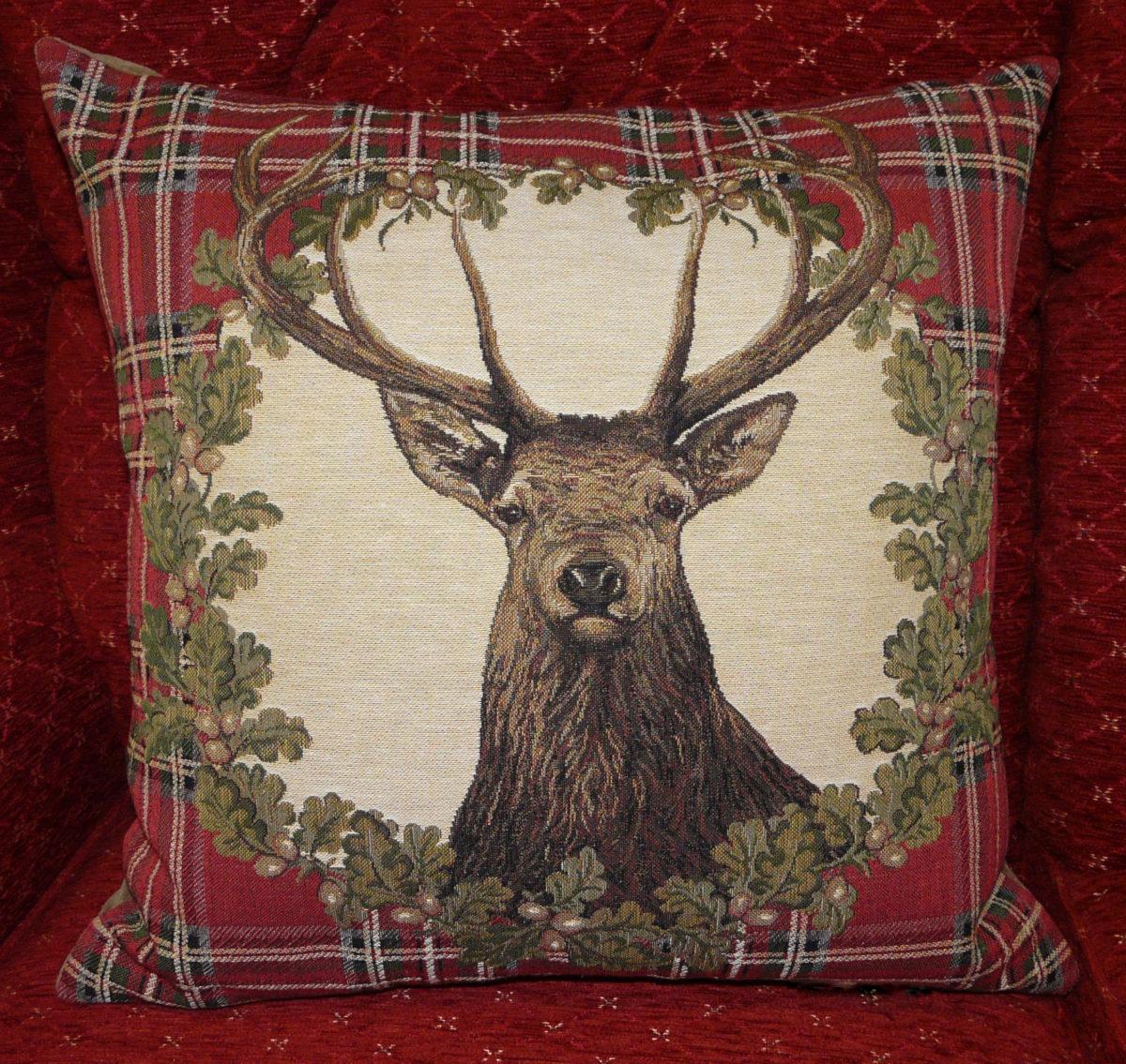 stag, tartan, cushion,